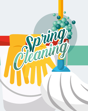 mop and bcket gloves spring cleaning vector illustration Banque d'images - 106459440