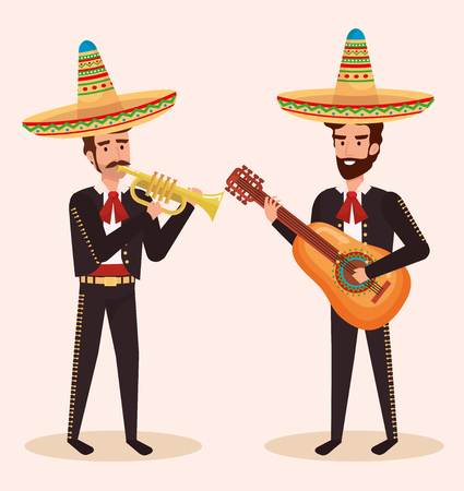 group mexican mariachis with instruments vector illustration Illustration