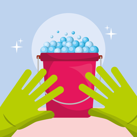green rubber gloves bucket bubbles cleaning vector illustration