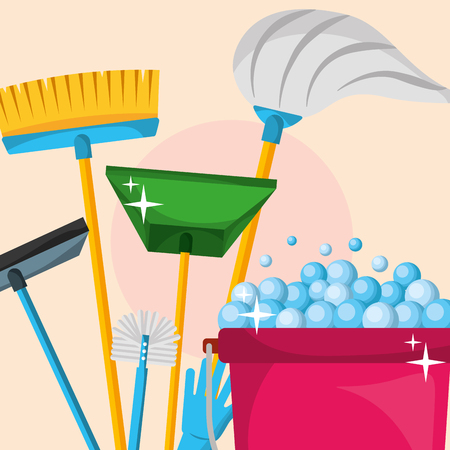 bucket bubbles dustpan glass scraper mop broom glove and brush cleaning vector illustration