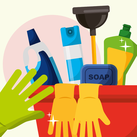 rubber gloves soap bucket plunger spray detergent cleaning vector illustration