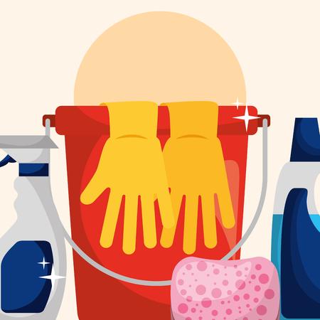 bucket rubber gloves sponge spray and bottle detergent cleaning vector illustration Illustration