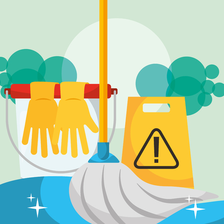 rubber gloves mop bubbles warning board cleaning vector illustration