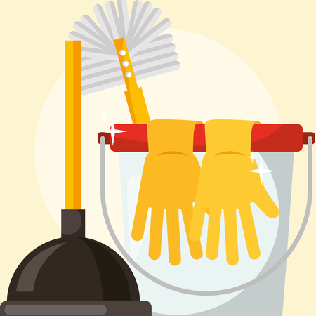 rubber gloves white bucket toilet brush and plunger cleaning vector illustration Illustration