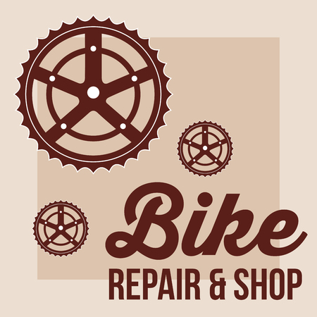 bike repair and shop wheels frame sign colors vector illustration Illustration