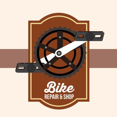 bike repair and shop pedal frame sign vector illustration Illustration