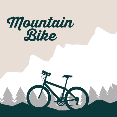 bike repair and shop mountains bicycle ride vector illustration