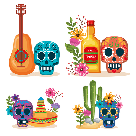 day of the dead masks with culture icons vector illustration Foto de archivo - 111977454