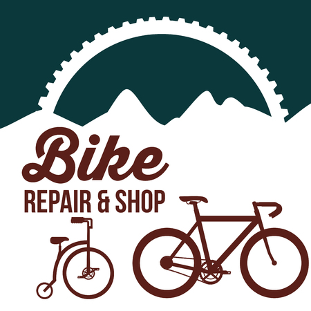 bike repair and shop wheel bicycles mountains vector illustration