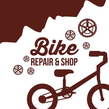 bike repair and shop mountain wheels bicycle ride up vector illustration  イラスト・ベクター素材