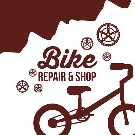 réparation de vélo et magasin de roues de montagne vélo monter illustration vectorielle Vecteurs