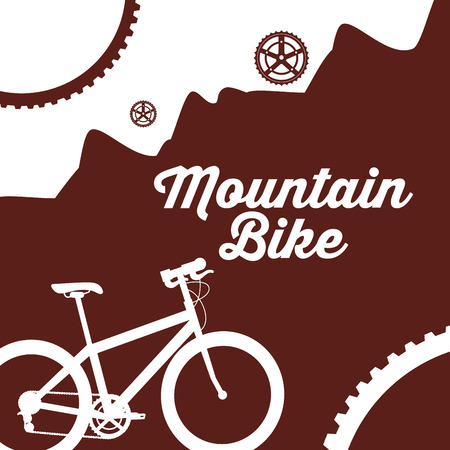 bike repair and shop wheels mountains sign ride vector illustration