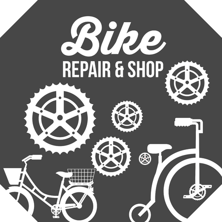 bike repair and shop wheels bicycle spares sign vector illustration Illustration