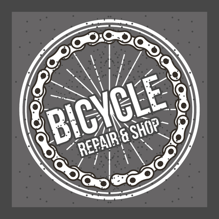 bike repair and shop sign wheel chain vintage style vector illustration Illustration