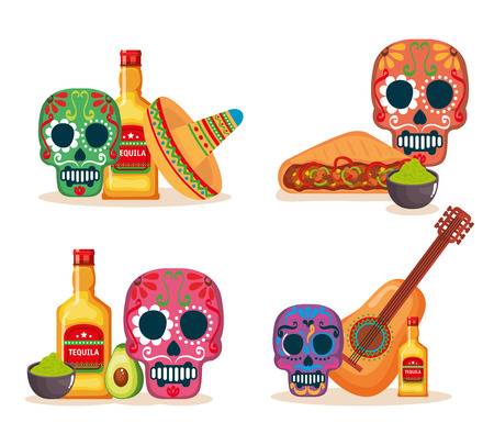 day of the dead masks with culture icons vector illustration Foto de archivo - 111977458