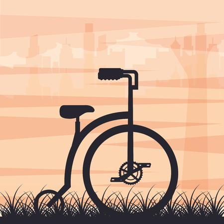 bike repair and shop bicycle grass city retro style vector illustration