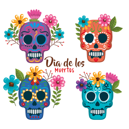 day of the dead masks with floral decoration vector illustration Foto de archivo - 111977461