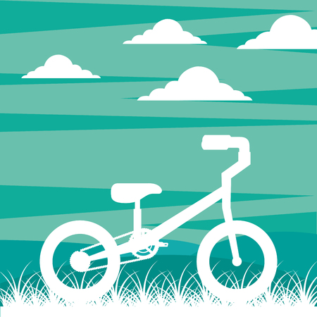 bike repair and shop clouds bicycle grass ride vintage style background vector illustration Illustration