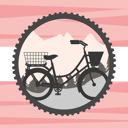bike repair and shop wheel label mountain ride vintage style backgorund vector illustration