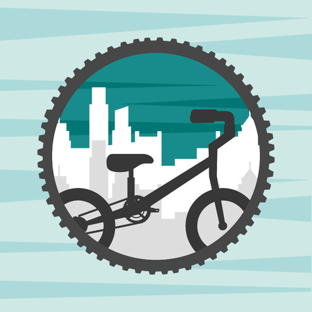 bike repair and shop wheel label city bicycle ride retro style vector illustration Illustration