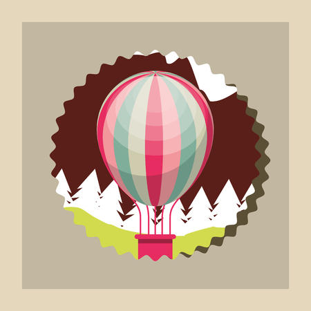 bike repair and shop label color mountain hot air balloon vector illustration