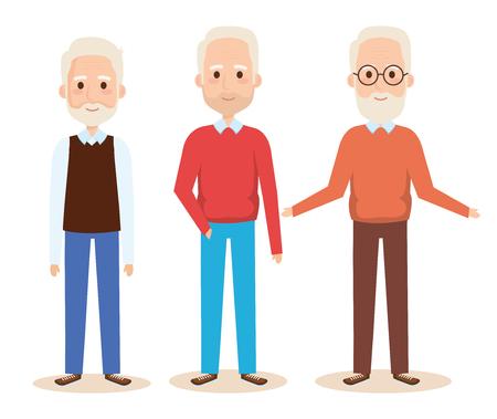 cute grandfathers avatars characters vector illustration design