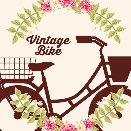 bike repair and shop flowers bicycle sign vector illustration Ilustração