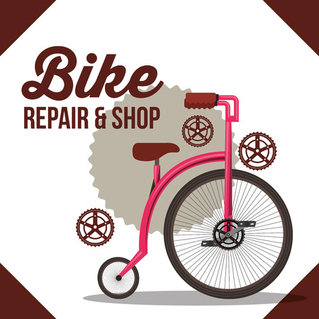 bike repair and shop wheels sign backgorund bicycle vector illustration