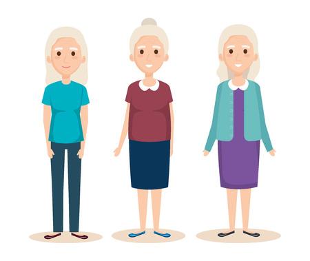 niedliche Großmütter Avatare Zeichen Vektor-Illustration Design Vektorgrafik
