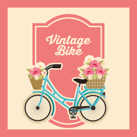 bike repair and shop bicycle flowers roses frame sign vector illustration Illustration