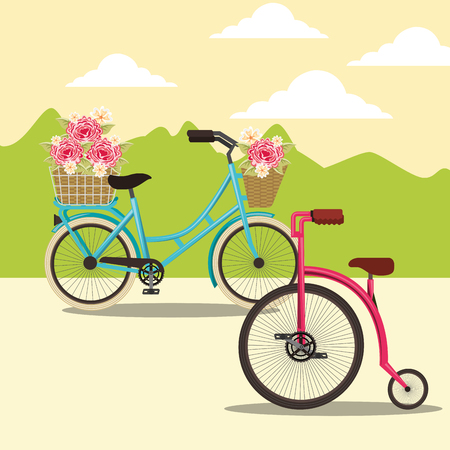 bike repair and shop flowers bicycles ride vector illustration Illustration