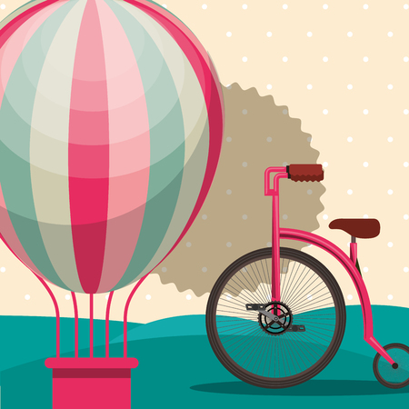 bike repair and shop hot air balloon label bicycle vector illustration Ilustração