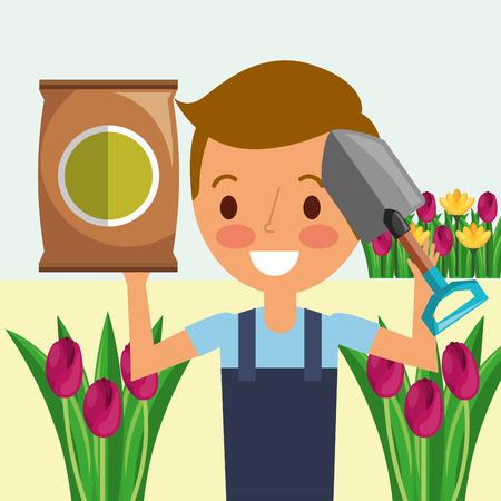 gardener boy with shovel potting soil flowers gardening vector illustration Çizim