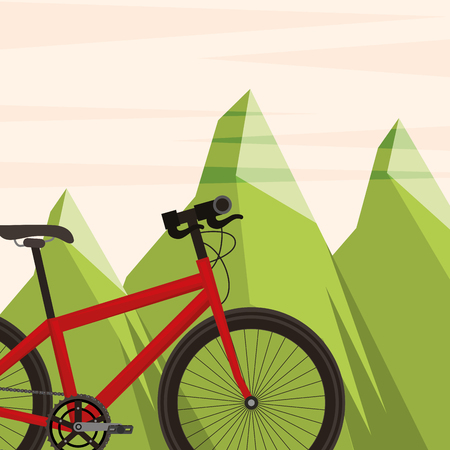 bike repair and shop mountains bicycle vector illustration