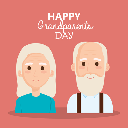 grandparents day celebration with couple characters vector