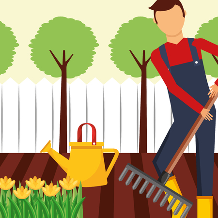 gardener working with rake and watering can gardening vector illustration