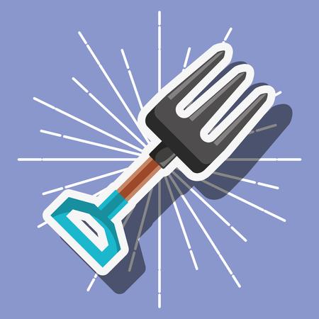 metallic fork gardening tool cartoon vector illustration