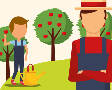 gardeners man and boy with watering can and apple trees vector illustration