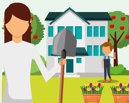 gardener woman and boy with shovel house garden flower tree vector illustration Banco de Imagens - 111977490
