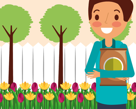 gardener man holding fertilizer flowersbed and trees gardening vector illustration Illustration