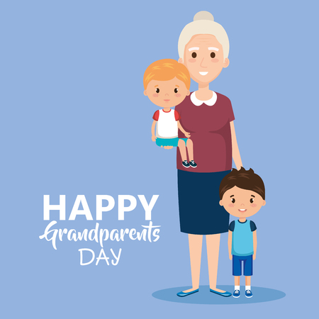 grandparents day card with grandma and geandchildren vector