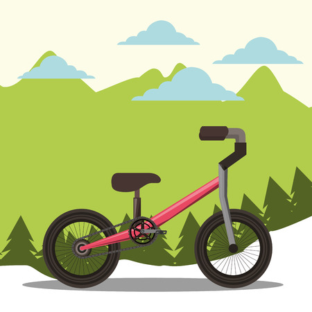 bike repair and shop clouds ride up moutains vector illustration Иллюстрация