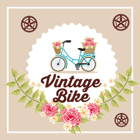 bike repair and shop flowers decoration label sign bicycle wheels vector illustration Illustration