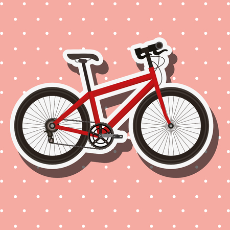 bike repair and shop dotted background red bicycle vector illustration Çizim