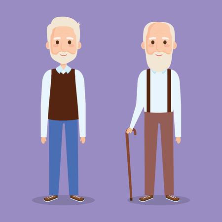 cute grandfathers avatars characters vector illustration design