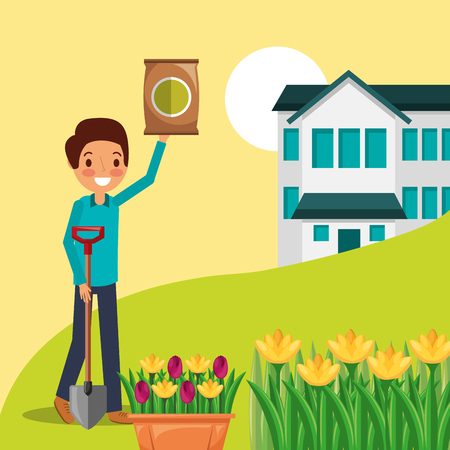 man cartoon with fertilizer and shovel house flowers garden vector illustration