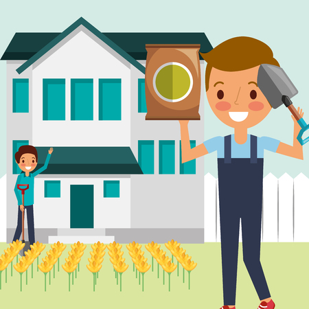 man and boy cartoon working in the house garden vector illustration Illustration