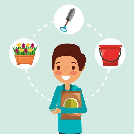 gardener man cartoon fertilizer bucket potted flowers and shovel vector illustration Stock Illustratie