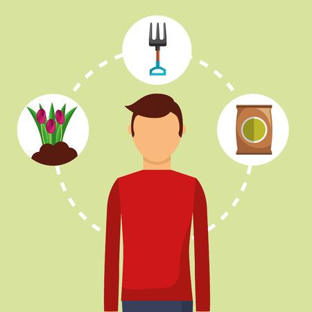 gardener man flower fertilizer and fork tool vector illustration Illustration
