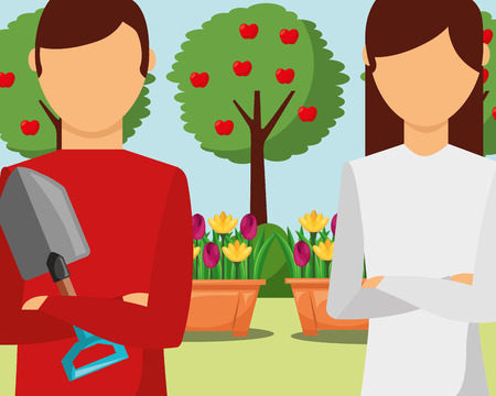 gardeners man and woman with shovel in the garden vector illustration